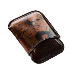 BOLGHERI Porta Sigari Ammezzati Pelle con immagine di Giuseppe Verdi sulla banconota da Mille Lire