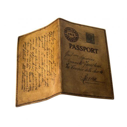 GUICCIARDINI Marrone Porta Passaporto in Pelle Conciata al Vegetale