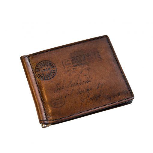 MOZART Testa di Moro - Portafoglio Uomo con Fermasoldi e Porta Carte di Credito in Vera Pelle Conciata al Vegetale
