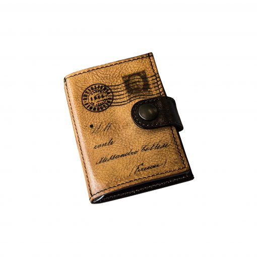 TOMMASINI - Porta Carte di Credito a Molla Sfoderato in Vera Pelle Conciata al Vegetale