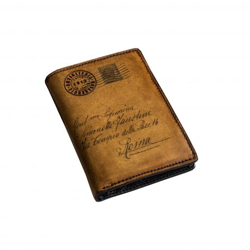 VIVALDI - Portafoglio Verticale con Portamonete in Vera Pelle Conciata al Vegetale con la Classica Icona della Cartolina (marrone)
