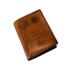 VIVALDI - Portafoglio Verticale con Portamonete in Vera Pelle Conciata al Vegetale con la Classica Icona della Cartolina (testa di moro)