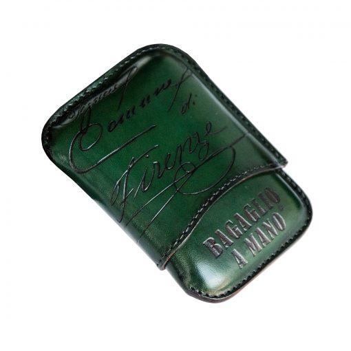 porta sigari ammezzati pelle PONTE VECCHIO verde Linea Luxury