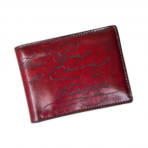 CALZAIUOLI Rosso - Portafoglio Uomo Orizzontale con o senza Portamonete in Vera Pelle Conciata al Vegetale