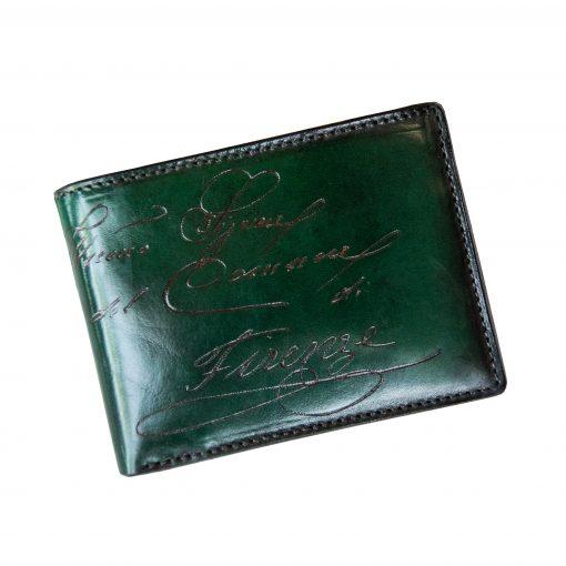 CALZAIUOLI Verde - Portafoglio Uomo Orizzontale con o senza Portamonete in Vera Pelle Conciata al Vegetale