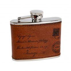 Fiaschetta Alcolici 4oz in Acciaio con rivestimento in Pelle - Cartolina TMoro